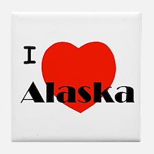 I Love Alaska! Tile Coaster