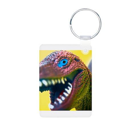 Yellow Dino-Mite Aluminum Photo Keychain