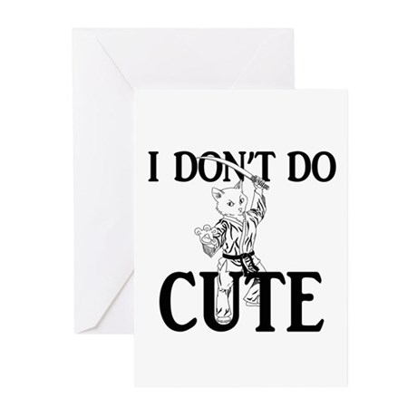 I Don't Do Cute - Cat Greeting Cards (Pk of 10)