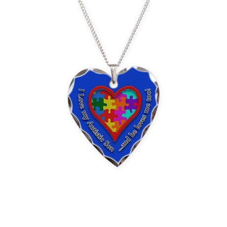 I Love my Autistic Son... Necklace Heart Charm