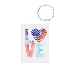 LOVE - PROUD TO BE AMERICAN Keychains