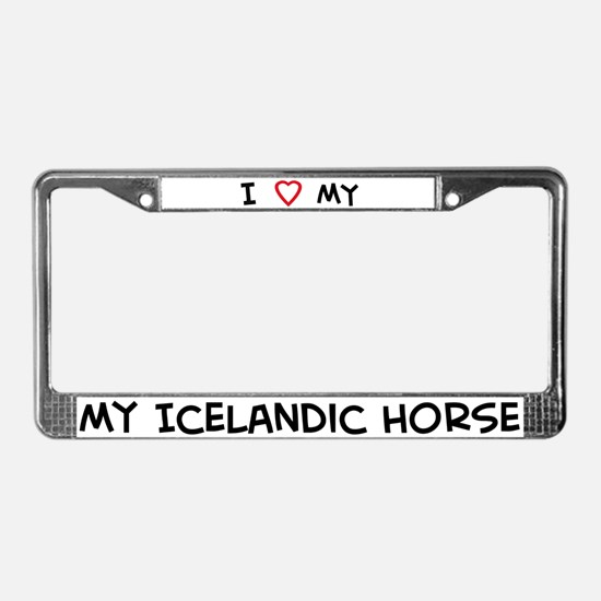 I Love Icelandic Horse License Plate Frame