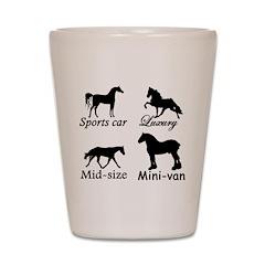 Horse Cars Shot Glass