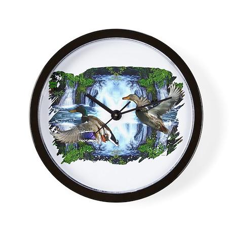 Mallards in flight Wall Clock