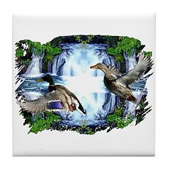 Mallards in flight Tile Coaster