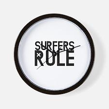 Surfers Rule Wall Clock