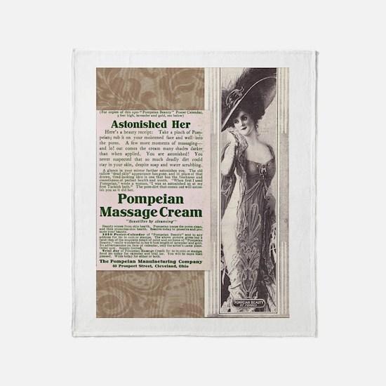 Pompeian Cream 1909 ad Throw Blanket