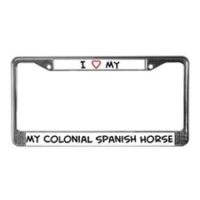 I Love Colonial Spanish Horse License Plate Frame