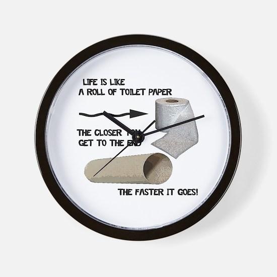 Funny Toilet Paper Life Wall Clock