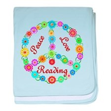 Peace Love Reading baby blanket