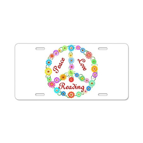 Peace Love Reading Aluminum License Plate