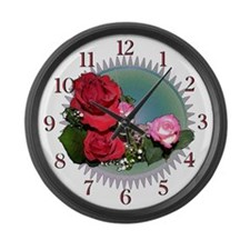 Red Roses Large Wall Clock