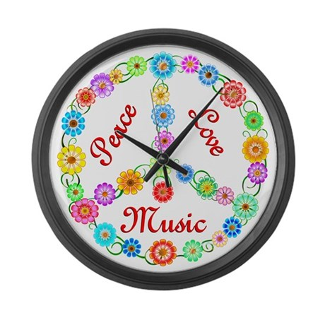 Peace Love Music Large Wall Clock