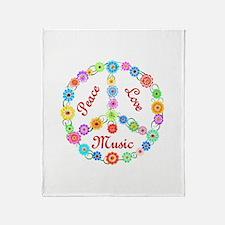 Peace Love Music Throw Blanket