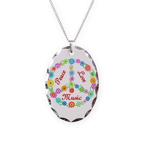 Peace Love Music Necklace Oval Charm