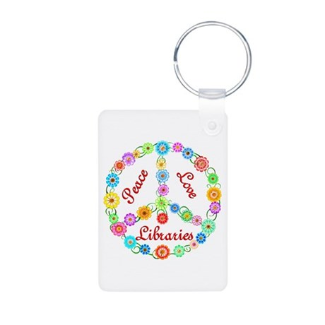 Peace Love Libraries Aluminum Photo Keychain