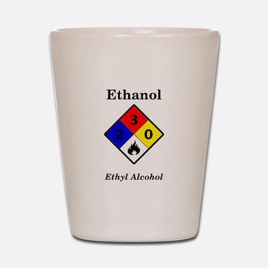 Ethanol MSDS Label Shot Glass