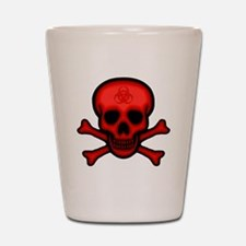 Red Biohazard Skull Shot Glass
