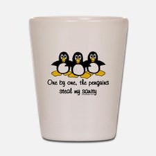 One by one, the penguins Shot Glass