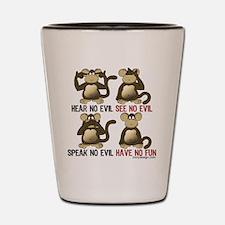 No Evil Fun Monkeys Shot Glass