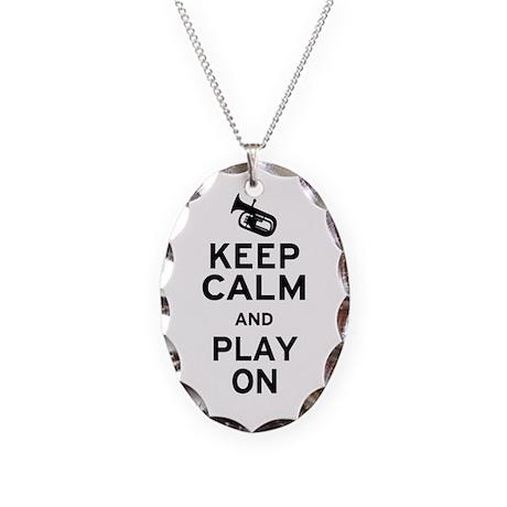 Keep Calm Baritone Necklace Oval Charm