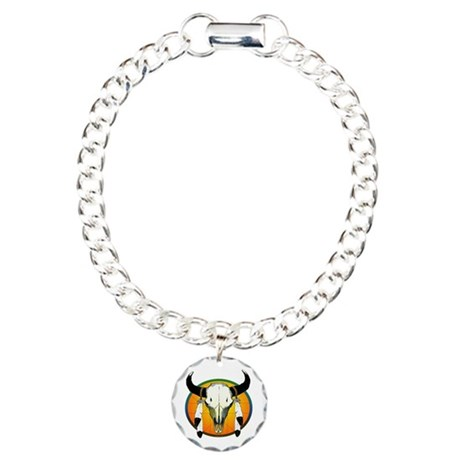 Buffalo Skull Charm Bracelet, One Charm