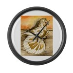 Yellow Splash English Trumpet Large Wall Clock