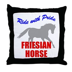 Ride With Pride Friesian Horse Throw Pillow
