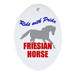 Ride With Pride Friesian Horse Oval Ornament