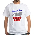 Ride With Pride Friesian Horse White T-Shirt