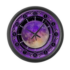 Clock of the Purple Moon Large Wall Clock