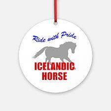 Ride With Pride Icelandic Horse Ornament (Round)