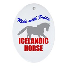 Ride With Pride Icelandic Horse Oval Ornament