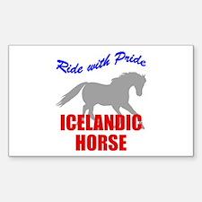 Ride With Pride Icelandic Horse Sticker (Rectangul