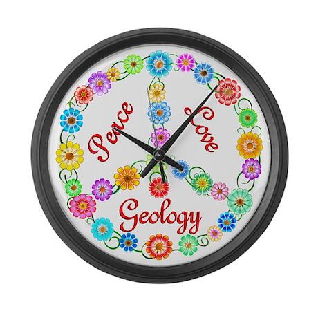 Peace Love Geology Large Wall Clock