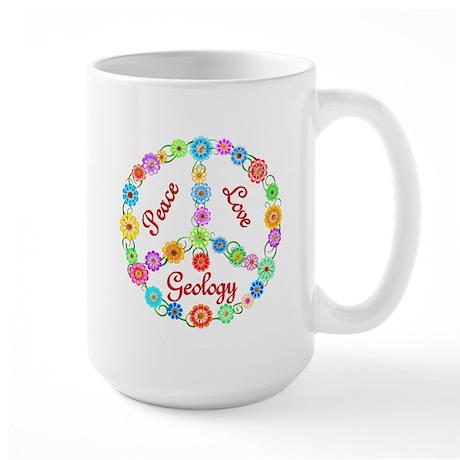 Peace Love Geology Large Mug
