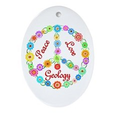 Peace Love Geology Ornament (Oval)