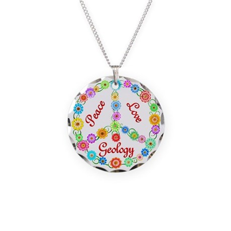Peace Love Geology Necklace Circle Charm