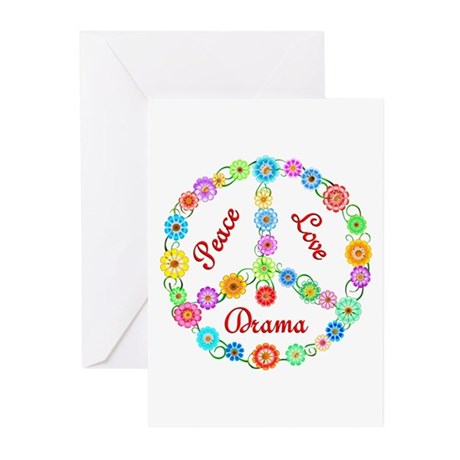 Peace Love Drama Greeting Cards (Pk of 20)