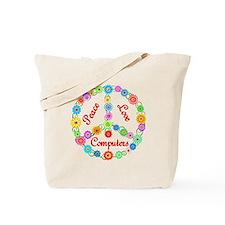 Peace Love Computers Tote Bag