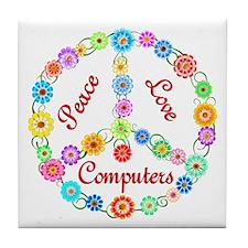 Peace Love Computers Tile Coaster
