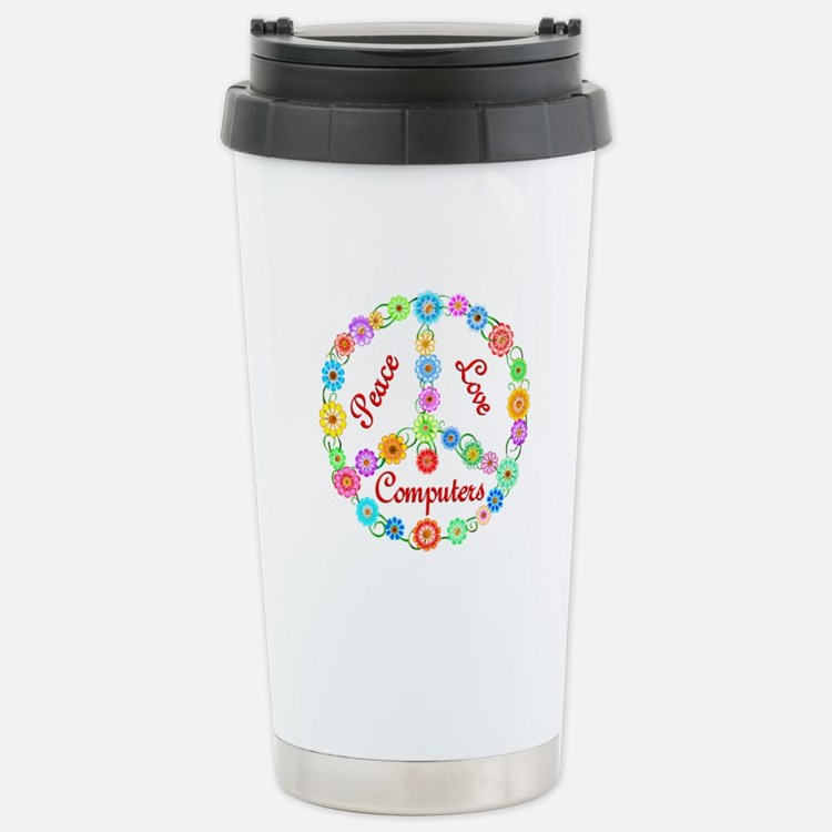Peace Love Computers Travel Mug