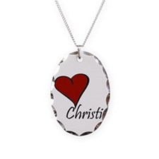 I love Christina Necklace Oval Charm