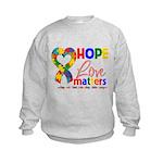 Hope Love Matters Autism Kids Sweatshirt
