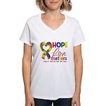 Hope Love Matters Autism Women's V-Neck T-Shirt