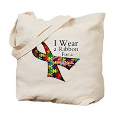 For a Cure Autism Ribbon Tote Bag