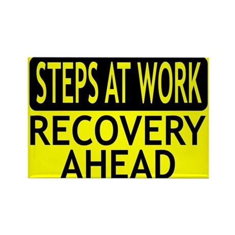 Steps At Work Recovery Ahead Rectangle Magnet