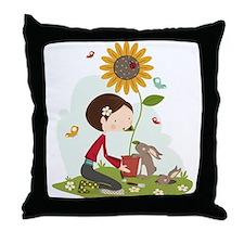 Gardening for bunnies Throw Pillow