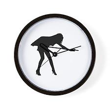 Billiards woman Wall Clock