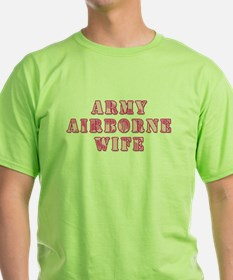 Army Airborne Wife Pink Camo T-Shirt